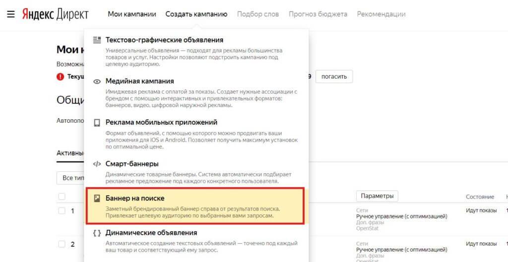 Создание рекламной кампании «Баннер на Поиске» в Яндекс Директ - изображение2